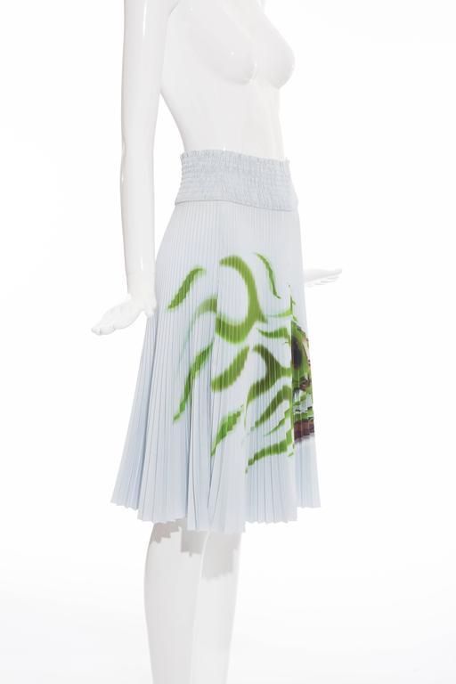 Gray Prada Accordion Pleated Cadillac Car Print Skirt, Spring - Summer 2012 For Sale