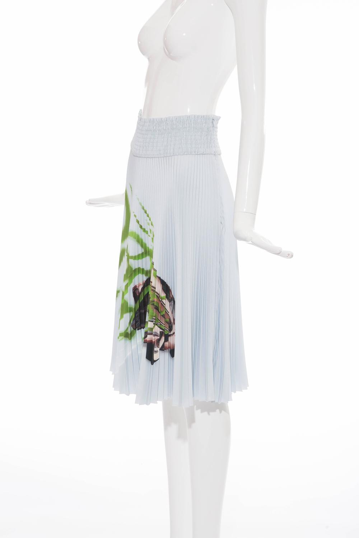 Prada Accordion Pleated Cadillac Car Print Skirt, Spring ...
