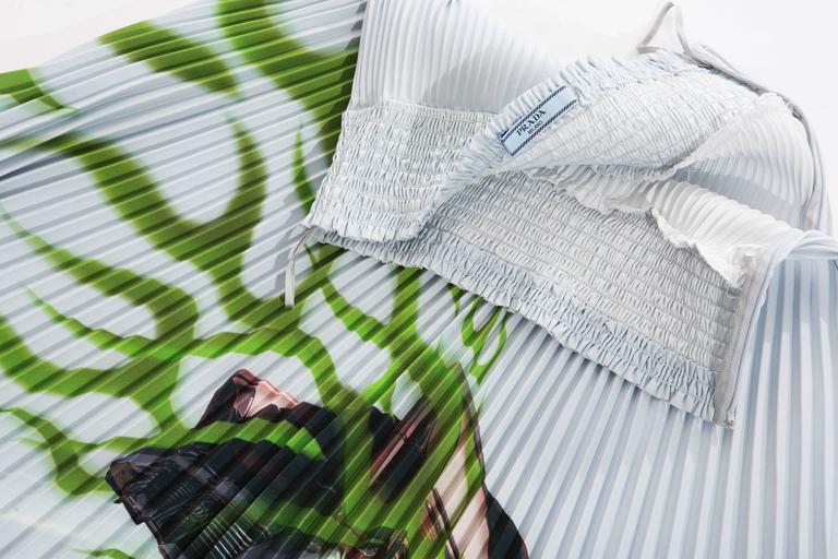 Prada Accordion Pleated Cadillac Car Print Skirt, Spring - Summer 2012 For Sale 3