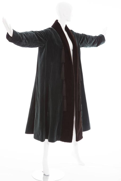 Romeo Gigli Cotton Velvet Swing Coat With Embellished Tassels, Circa 1980's In Excellent Condition For Sale In Cincinnati, OH
