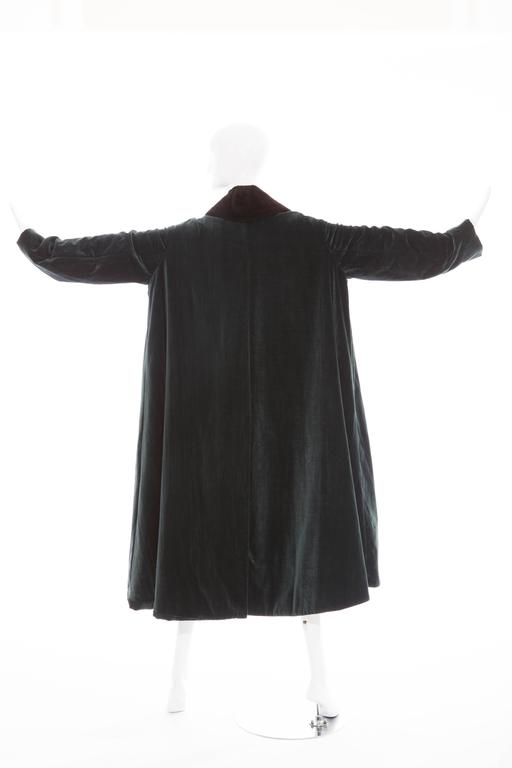 Women's Romeo Gigli Cotton Velvet Swing Coat With Embellished Tassels, Circa 1980's For Sale