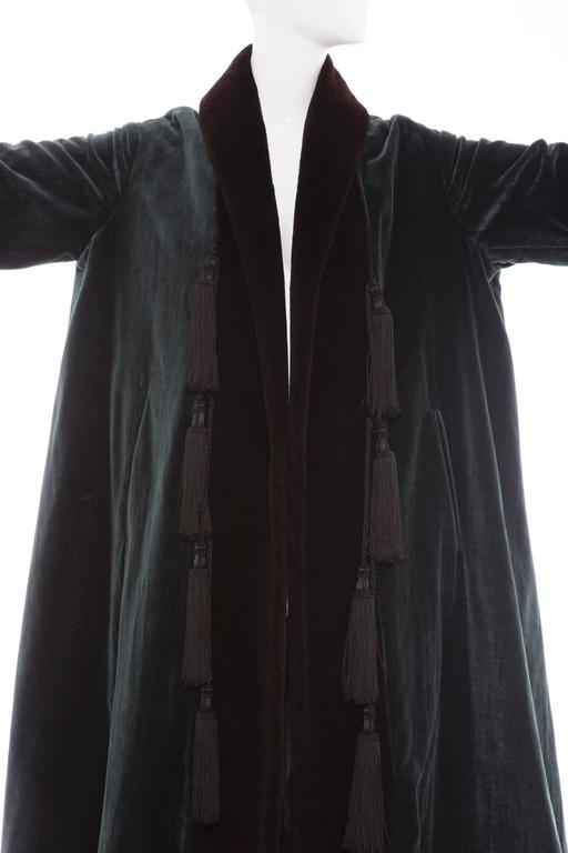 Romeo Gigli Cotton Velvet Swing Coat With Embellished Tassels, Circa 1980's For Sale 2