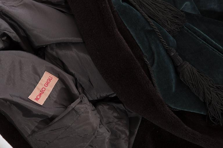Romeo Gigli Cotton Velvet Swing Coat With Embellished Tassels, Circa 1980's For Sale 5