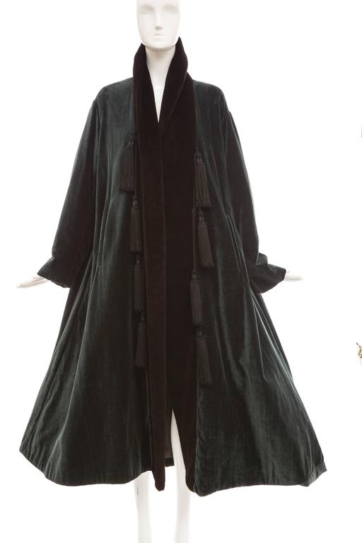 Romeo Gigli, circa 1980's, cotton velvet swing coat with poly fleece lapel, embellished tassels, two front pockets and fully lined in silk.  US. 6 - 8