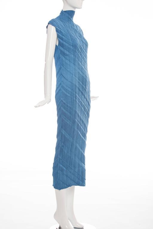 Issey Miyake Blue Pleated Polyester Sleeveless Sheath Dress, Spring 1995 3
