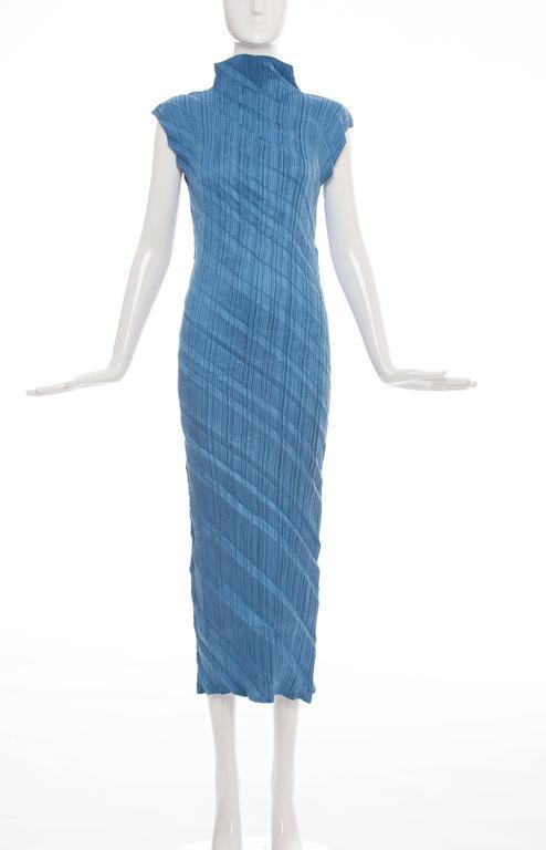 Issey Miyake Blue Pleated Polyester Sleeveless Sheath Dress, Spring 1995 2