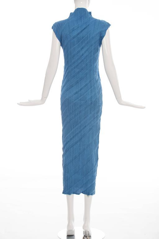 Issey Miyake Blue Pleated Polyester Sleeveless Sheath Dress, Spring 1995 4
