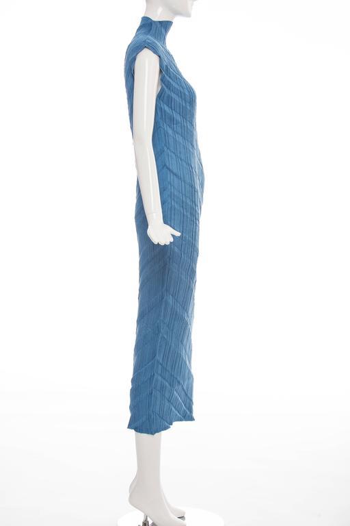 Issey Miyake Blue Pleated Polyester Sleeveless Sheath Dress, Spring 1995 5