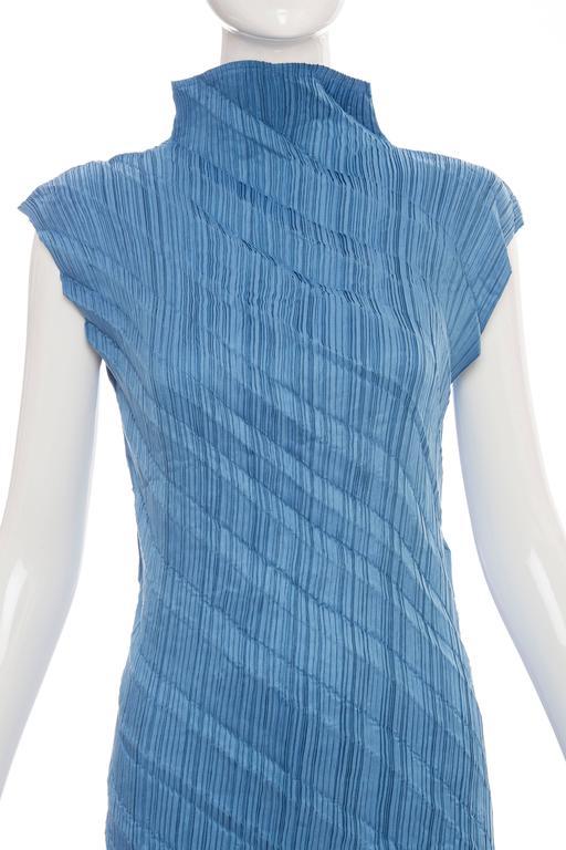 Issey Miyake Blue Pleated Polyester Sleeveless Sheath Dress, Spring 1995 6