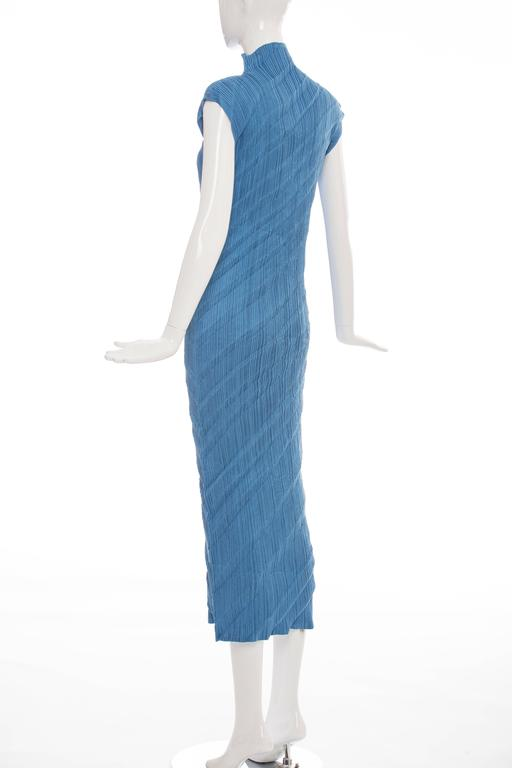 Issey Miyake Blue Pleated Polyester Sleeveless Sheath Dress, Spring 1995 7