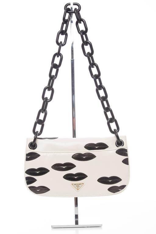 Prada White Leather With Black Lips Madras Flap Shoulder Bag, Resort 2012 2