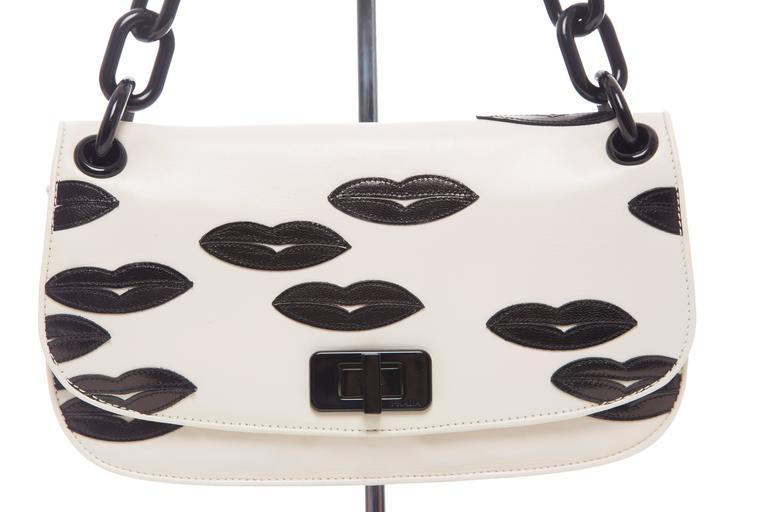 Prada White Leather With Black Lips Madras Flap Shoulder Bag, Resort 2012 3