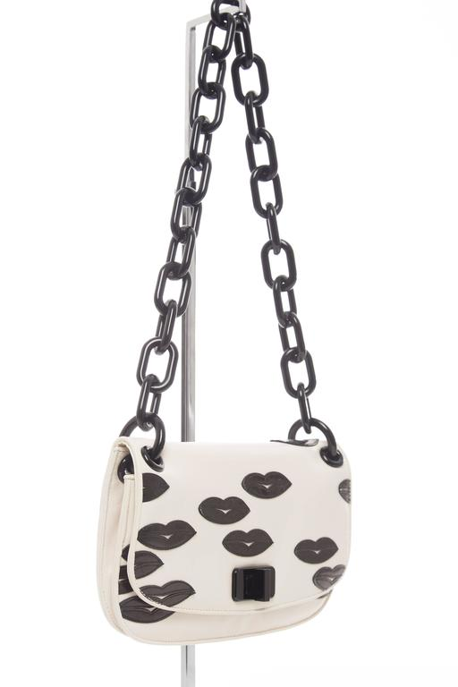 Prada White Leather With Black Lips Madras Flap Shoulder Bag, Resort 2012 4