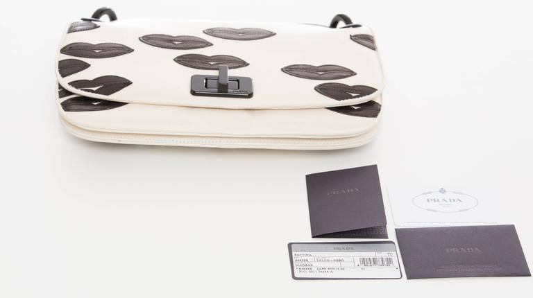 Prada White Leather With Black Lips Madras Flap Shoulder Bag, Resort 2012 7