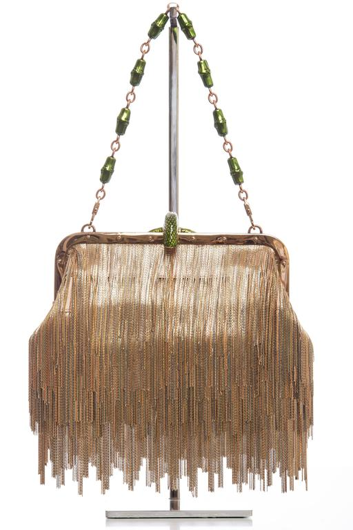 Brown  Tom Ford For Gucci Dragon Chain Fringe Evening Bag, Spring - Summer 2004 For Sale