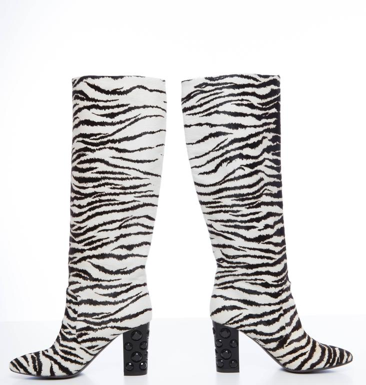 a81ec1ea2 Lanvin, Pre-Fall 2010 round toe boots with zebra print throughout, tonal  stitching