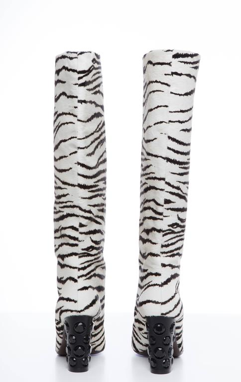 6e68e578c Gray Lanvin Zebra Print Boots With Embellished Heels, Pre - Fall 2010 For  Sale