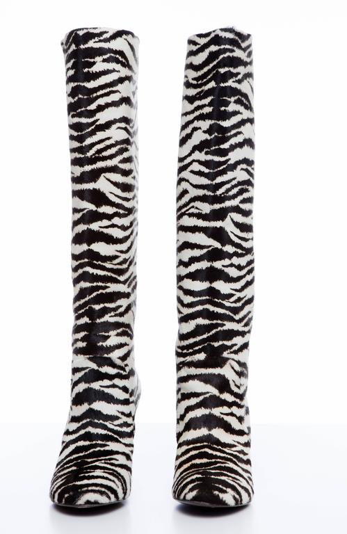 3ce52fdc1 Women's Lanvin Zebra Print Boots With Embellished Heels, Pre - Fall 2010  For Sale