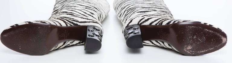 61b589d34 Lanvin Zebra Print Boots With Embellished Heels, Pre - Fall 2010 For Sale 2