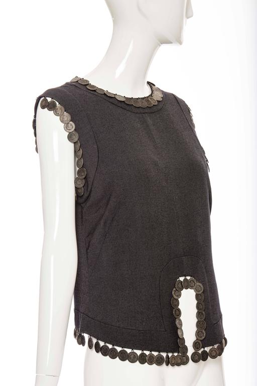 Alexander McQueen, Spring - Summer 2000, The Eye Collection sleeveless charcoal grey wool top  with appliquéd coin trim.  Bust 35, Waist 34, Length 23.5