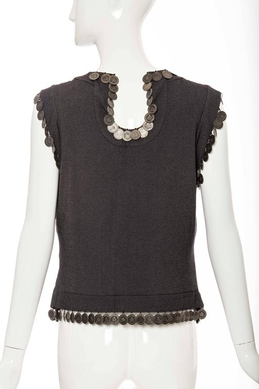 Black Alexander McQueen Runway Grey Wool Sleeveless Top Appliquéd Coins, Spring 2000 For Sale
