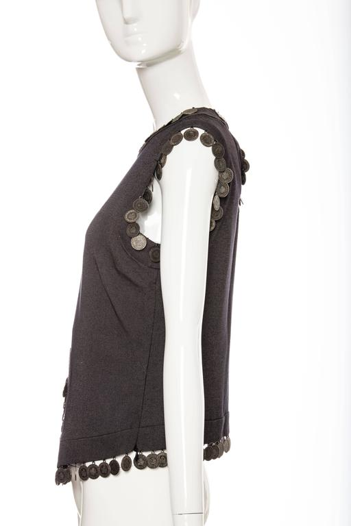 Alexander McQueen Runway Grey Wool Sleeveless Top Appliquéd Coins, Spring 2000 In Excellent Condition For Sale In Cincinnati, OH