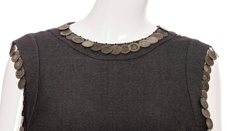 Women's Alexander McQueen Runway Grey Wool Sleeveless Top Appliquéd Coins, Spring 2000 For Sale