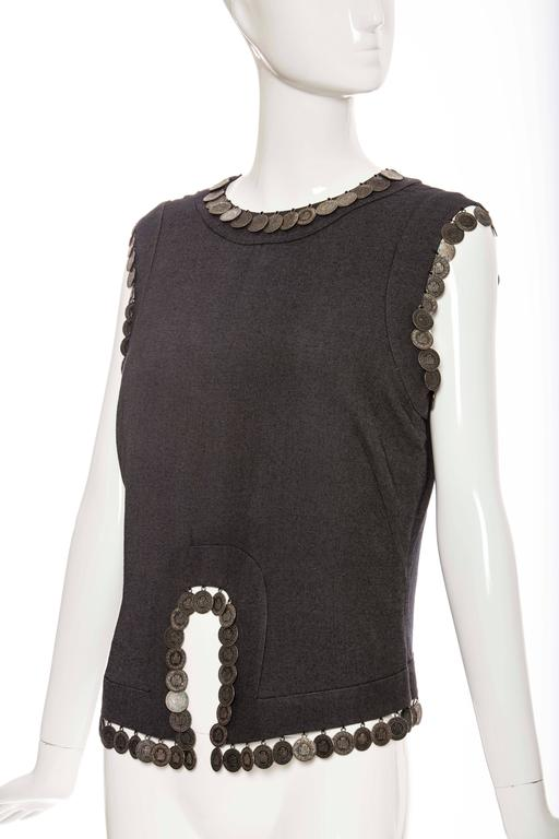Alexander McQueen Runway Grey Wool Sleeveless Top Appliquéd Coins, Spring 2000 For Sale 2