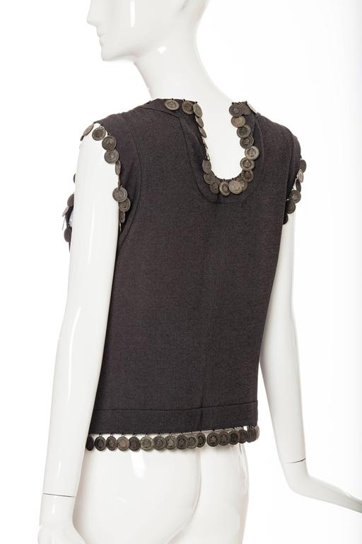 Alexander McQueen Runway Grey Wool Sleeveless Top Appliquéd Coins, Spring 2000 For Sale 3