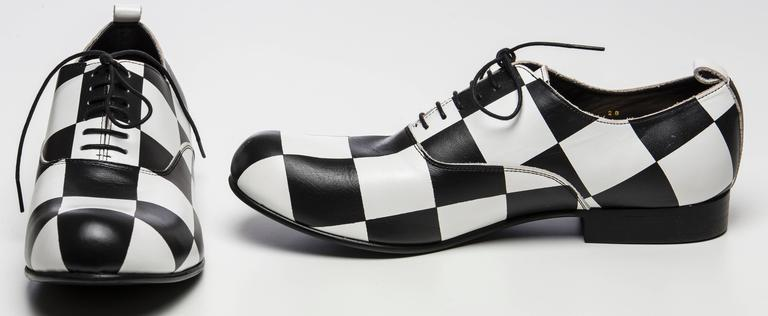 comme des garcons s black and white checkered leather