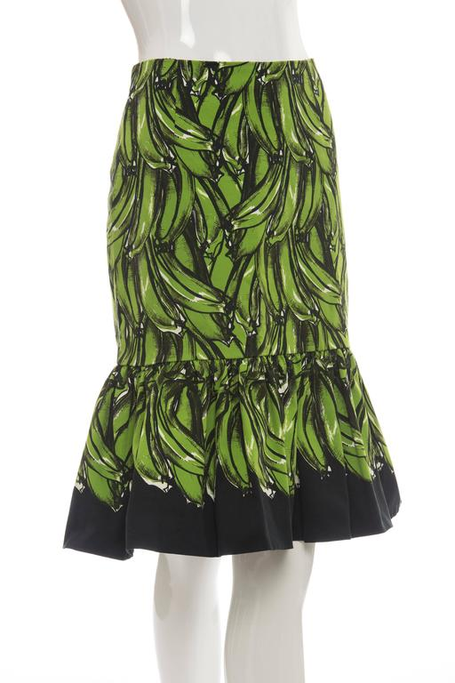 Black Prada Banana Print Skirt, Spring 2011 For Sale