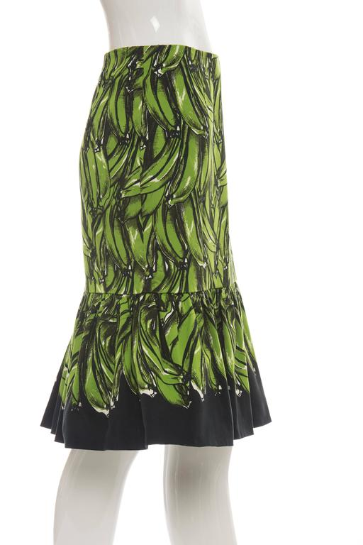 Prada Banana Print Skirt, Spring 2011 In Excellent Condition For Sale In Cincinnati, OH