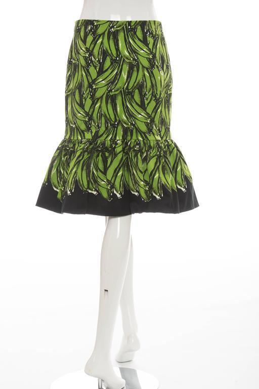 Women's Prada Banana Print Skirt, Spring 2011 For Sale