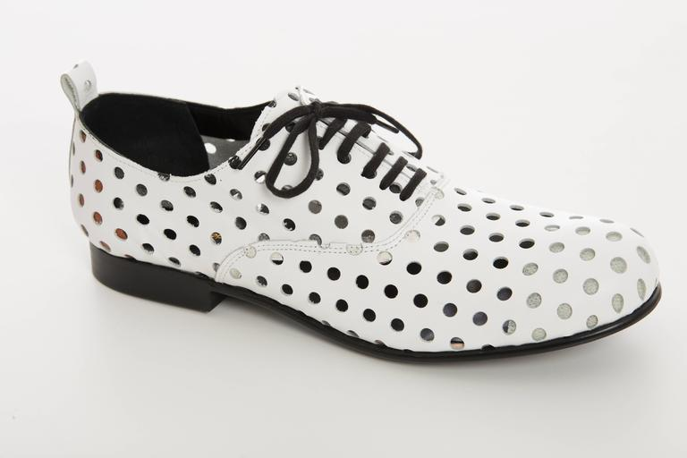 Women's Comme des Garcons Runway White Perforated Leather Oxfords, Spring  2015 For Sale