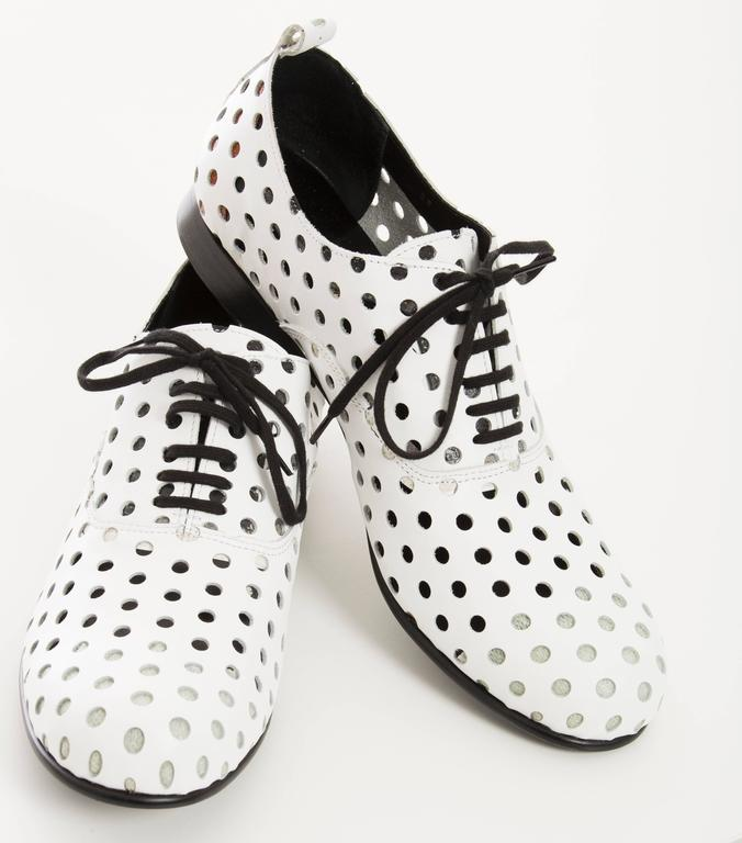 Gray Comme des Garcons Runway White Perforated Leather Oxfords, Spring  2015 For Sale