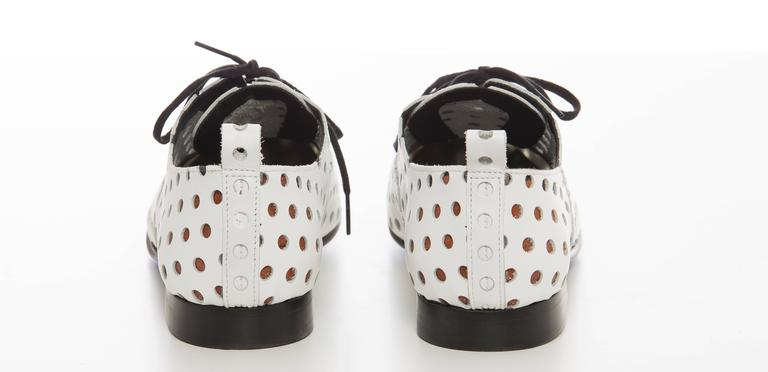 Comme des Garcons Runway White Perforated Leather Oxfords, Spring  2015 For Sale 2