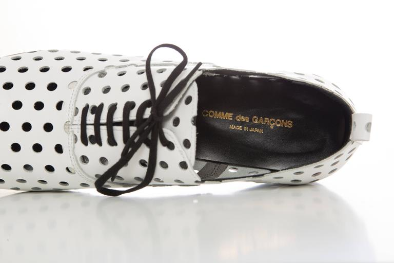 Comme des Garcons Runway White Perforated Leather Oxfords, Spring  2015 For Sale 3