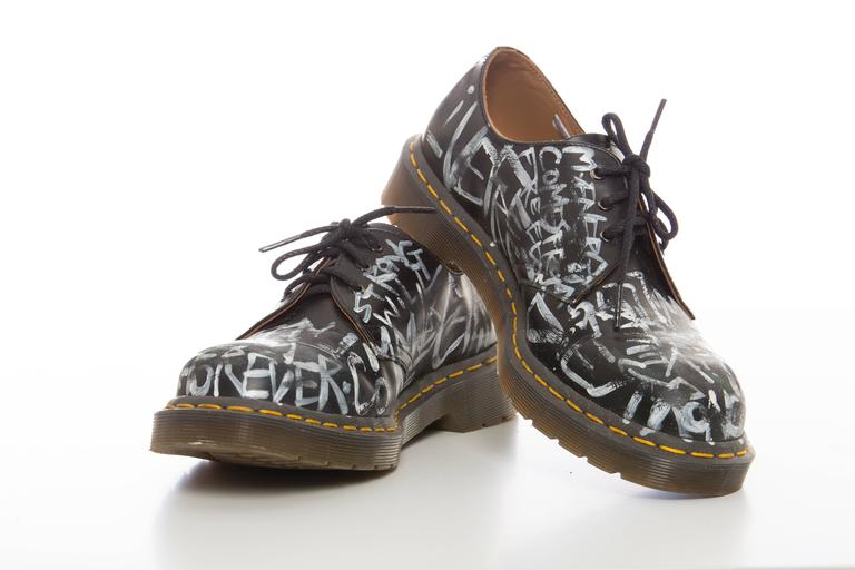 comme des garcons by dr martens men 39 s leather graffiti print derby shoes at 1stdibs. Black Bedroom Furniture Sets. Home Design Ideas