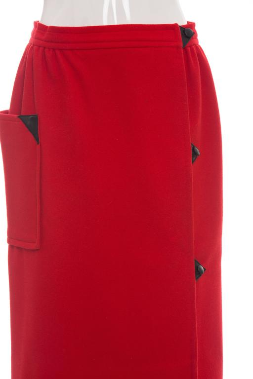 Courreges Red Wool - Cashmere Skirt With Leather Buttons, circa 1970's In Excellent Condition For Sale In Cincinnati, OH