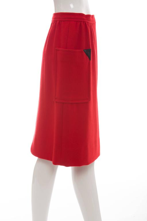 Women's Courreges Red Wool - Cashmere Skirt With Leather Buttons, circa 1970's For Sale