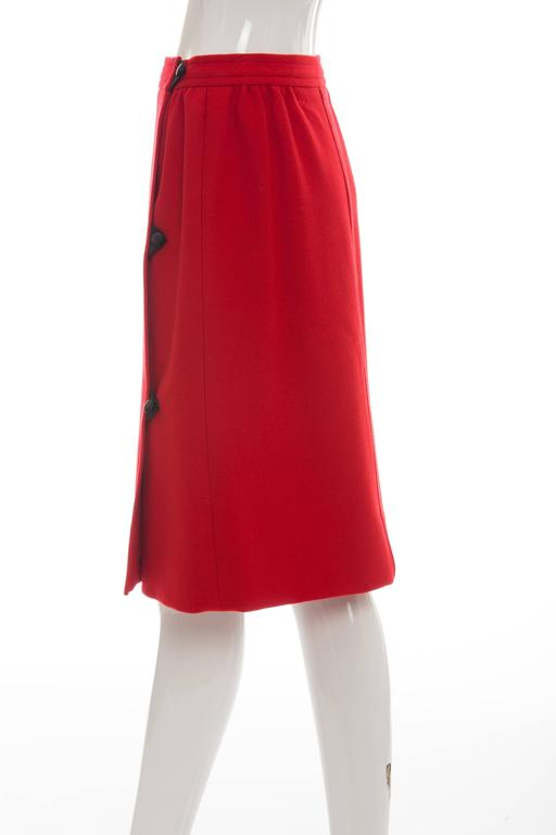 Courreges Red Wool - Cashmere Skirt With Leather Buttons, circa 1970's For Sale 2