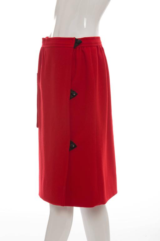Courreges Red Wool - Cashmere Skirt With Leather Buttons, circa 1970's For Sale 3