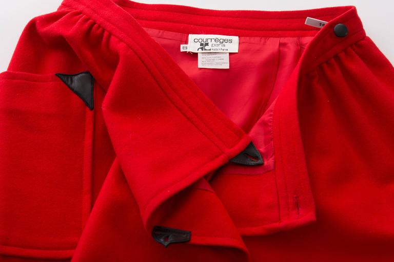 Courreges Red Wool - Cashmere Skirt With Leather Buttons, circa 1970's For Sale 4