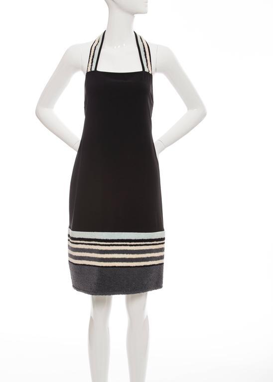 Chanel, Cruise 2000 black halter-dress with striped terrycloth trim.  EU. 38