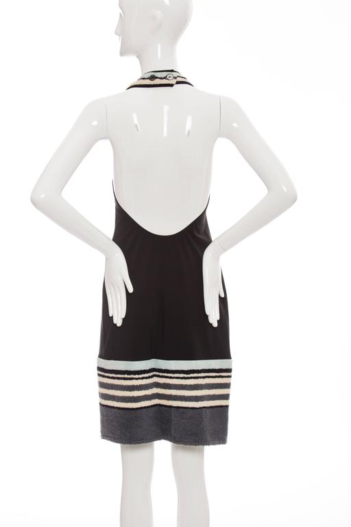 Chanel Black Halter - Dress With Terrycloth Trim, Cruise 2000 In Excellent Condition For Sale In Cincinnati, OH