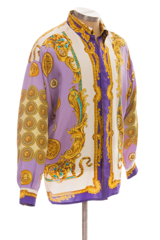 Gianni versace men 39 s silk medusa print shirt circa 1990 39 s for Versace style shirt mens