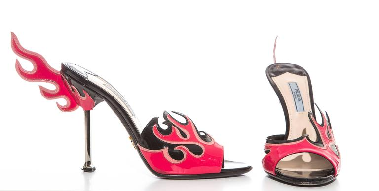 Women's Prada Patent Leather Flame Slide Sandals, Spring 2012 For Sale