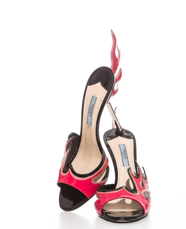 Prada Patent Leather Flame Slide Sandals, Spring 2012 For Sale 3