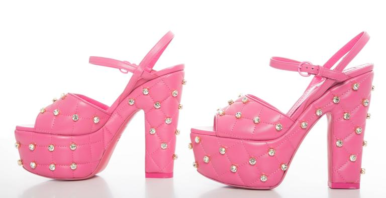 Moschino Couture Pink Quilted Leather Platform Sandals, Spring 2015 2