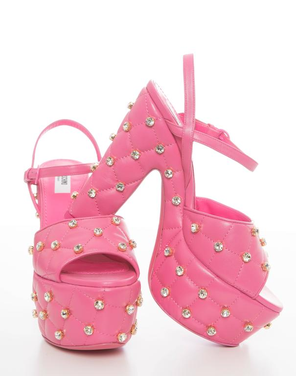 Moschino Couture Pink Quilted Leather Platform Sandals, Spring 2015 5